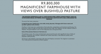 R9,800,000 | Magnificent farmhouse with views over bushveld pasture