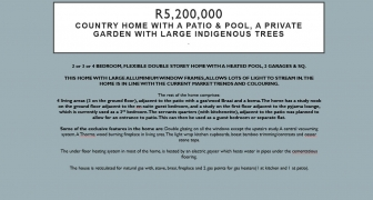 R5,200,000 - COUNTRY HOME WITH A PATIO & POOL, A PRIVATE GARDEN WITH LARGE INDIGENOUS TREES
