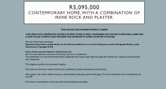 R5,095,000 - CONTEMPORARY HOME, WITH A COMBINATION OF IRENE ROCK AND PLASTER